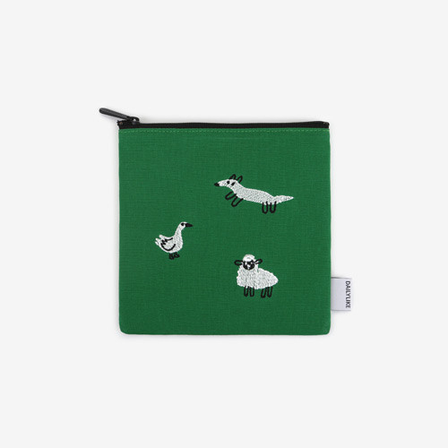 Dailylike Embroidery rectangle fabric zipper pouch - Farm