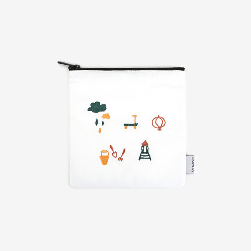 Dailylike Embroidery rectangle fabric zipper pouch - Play ground