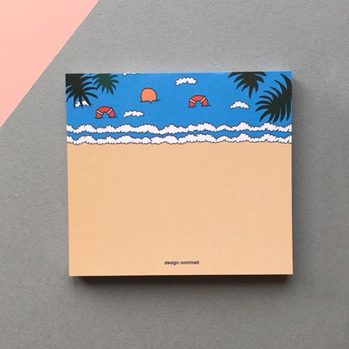 Memowang beach illustration memo notepad