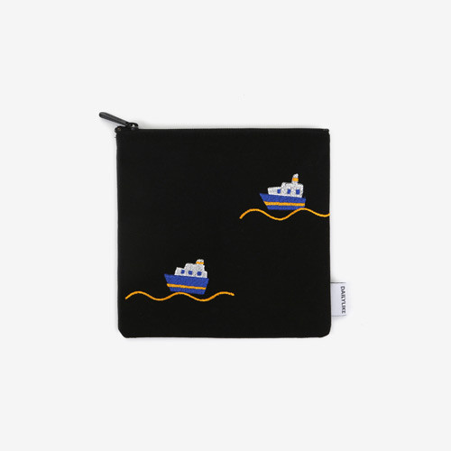 Dailylike Embroidery rectangle fabric zipper pouch - Ship