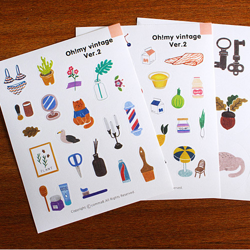 Oh my vintage illustration deco sticker set 01