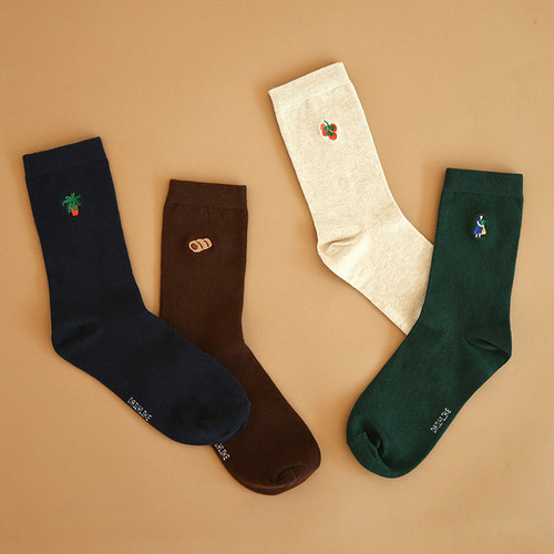 Dailylike Le petit marche embroidered women socks set