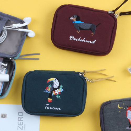 Wanna This Tailorbird embroidered handy pouch bag ver3