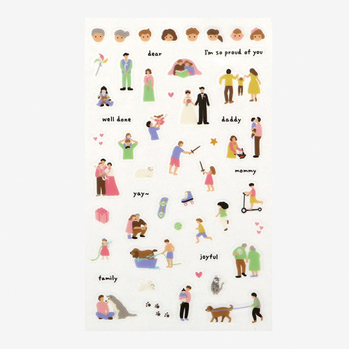 Dailylike Daily transparent deco sticker - Family