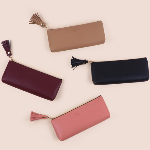 Rihoon Tassel PU zipper pencil case pen pouch