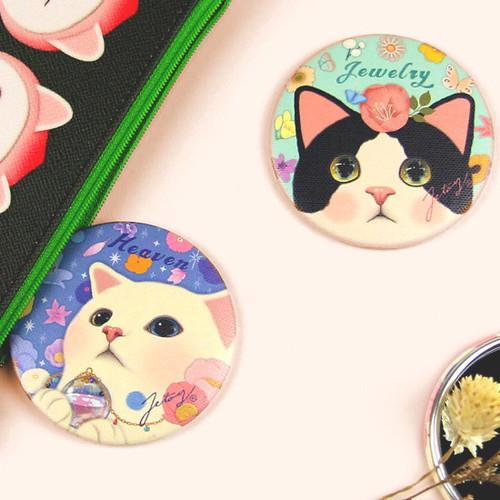 Jetoy Choo Choo cat petit round hand mirror