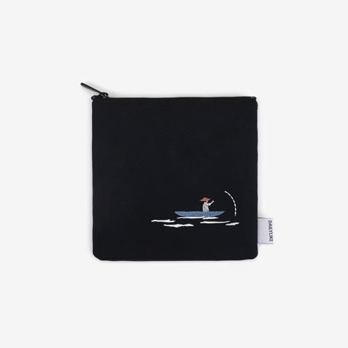 Dailylike Embroidery rectangle fabric zipper pouch - Kayak
