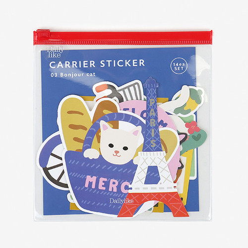 Dailylike Bonjour cat PVC luggage deco sticker pack with zip pouch