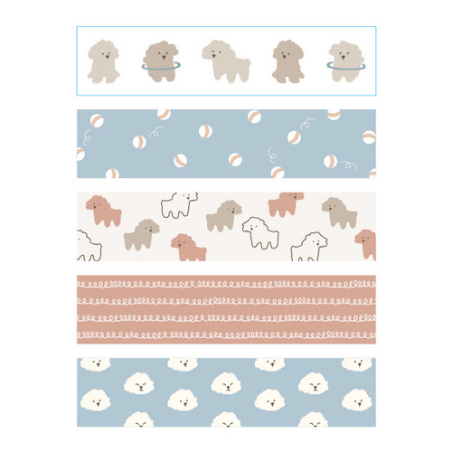 Dailylike Poodle masking seal paper deco sticker 4 sheets set