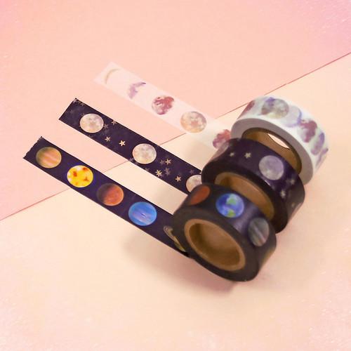 Universe moon 15mm width deco masking tape 02