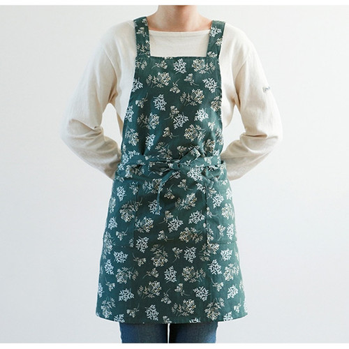 Dailylike Lace flower pattern linen cross back apron