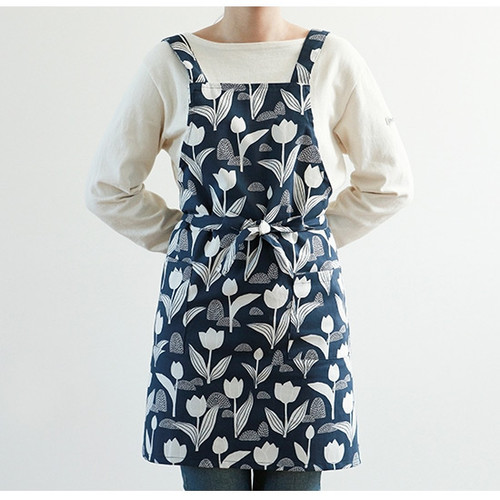 Dailylike Tulip pattern oxford fabric cross back apron