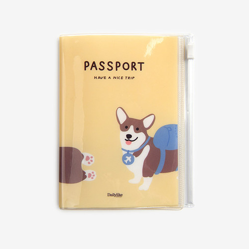 Dailylike Backpack corgi zip pocket travel passport cover holder