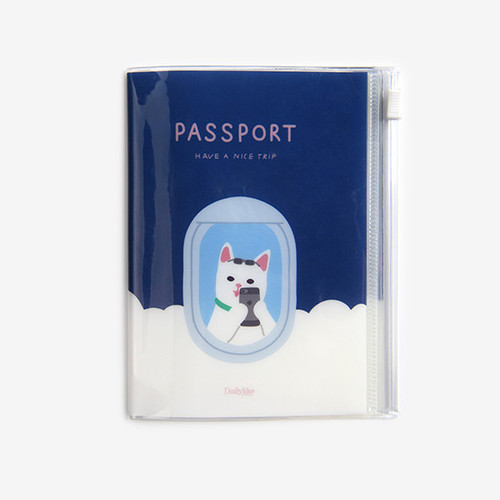 Dailylike Happy cat zip pocket travel passport cover holder