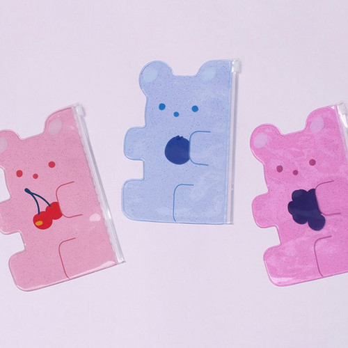 Jelly bear medium clear zip lock pouch