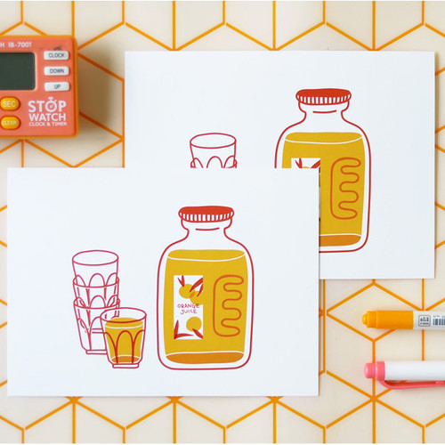Jam Studio Orange juice message card with envelope