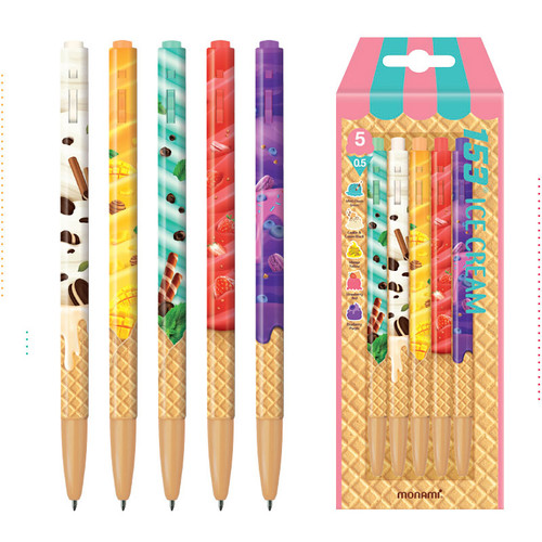 MONAMI 153 icecream knock retractable ballpoint pen set
