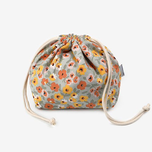 Dailylike Warm flower soft oxford cotton bucket drawstring pouch
