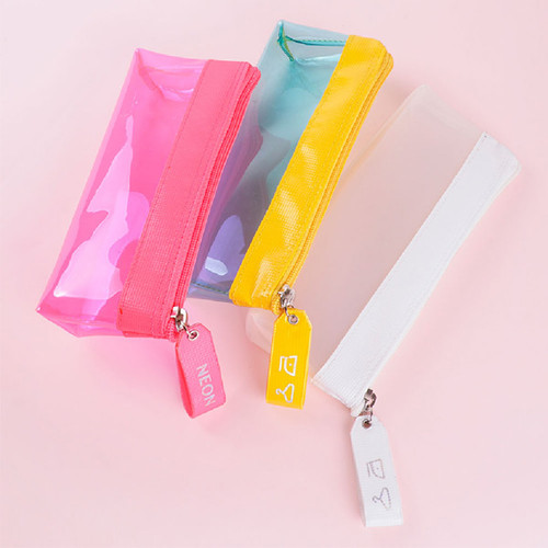 Rihoon Neon laundry translucent zipper pencil case