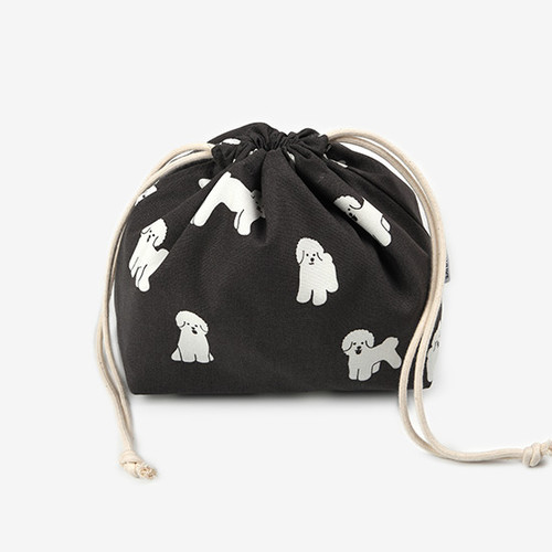 Dailylike Bichon Frise soft oxford cotton bucket drawstring pouch