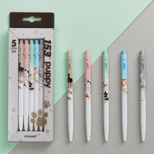 MONAMI 153 puppy knock retractable ballpoint pen set