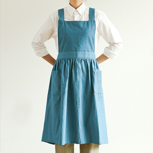 Dailylike Midnight blue frill linen cross back apron