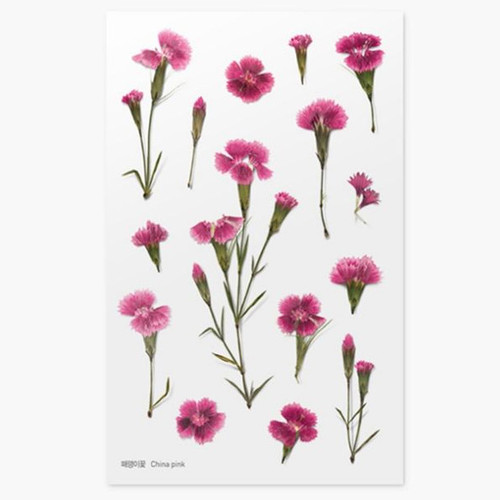 Appree China pink press flower stickers