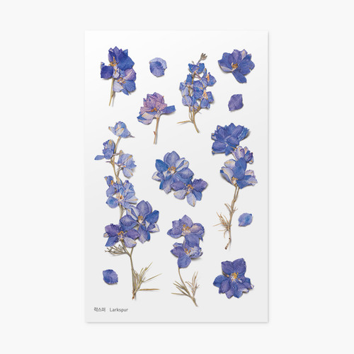 Appree Larkspur press flower stickers