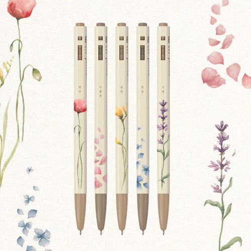 MONAMI 153 flower knock retractable ballpoint pen set
