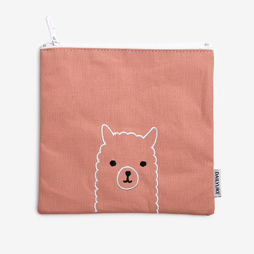 Dailylike Embroidery rectangle fabric zipper pouch - Alpaca