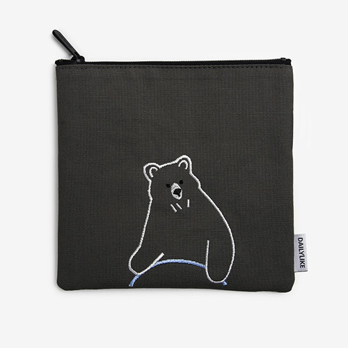 Dailylike Embroidery rectangle fabric zipper pouch - Hula hoop bear