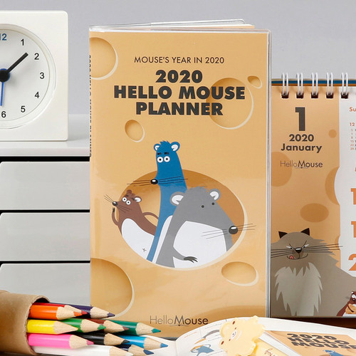Chachap 2020 Hello mouse dated monthly planner scheduler