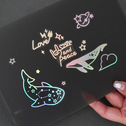 PLEPLE Coated hologram clear decoration sticker
