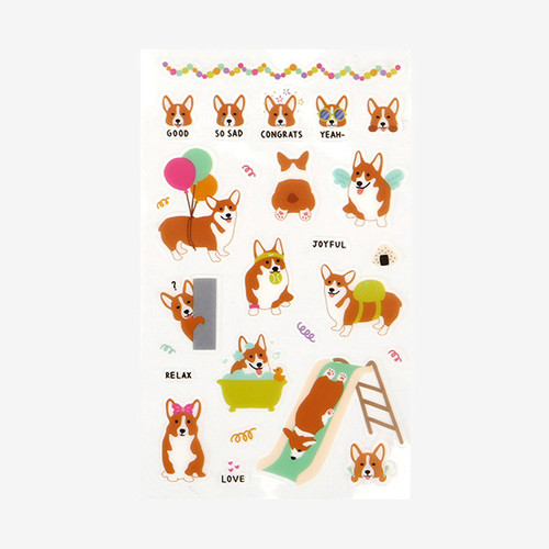 Daily transparent deco cute sticker - Welsh corgi