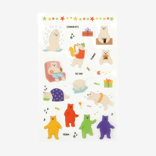 Daily transparent deco cute sticker - Jelly bear