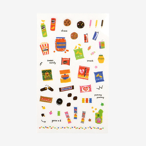 Daily transparent deco cute sticker - Snack