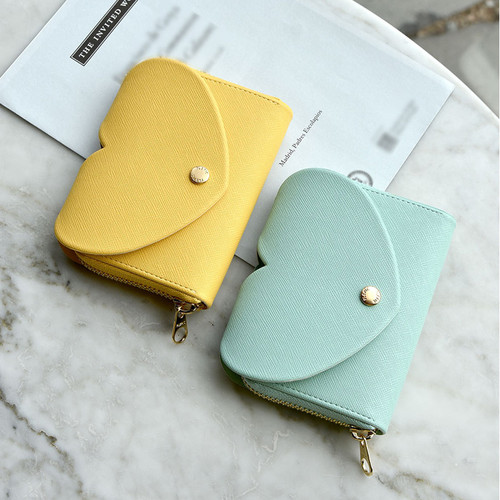 Play Obje Lovely heart PU zipper and snap button wallet