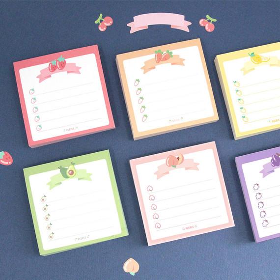 PLEPLE Fruits ribbon memo notes checklist notepad