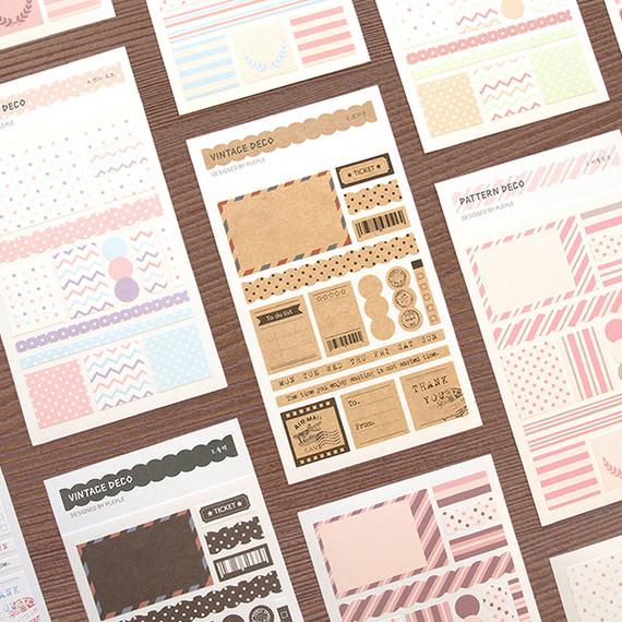 PLEPLE Pattern paper deco sticker set
