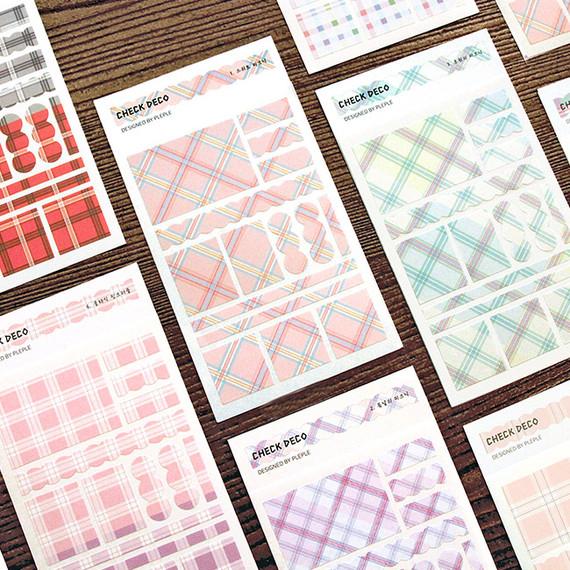 PLEPLE Check paper deco sticker set