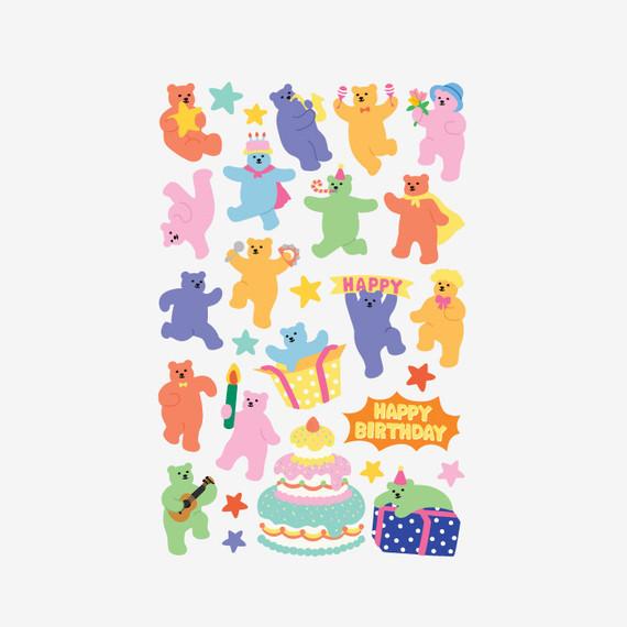 Dailylike Jelly bear Party paper removable sticker