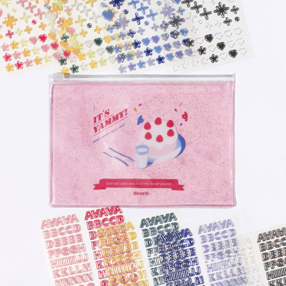 After The Rain Silver line deco sticker set with pouch