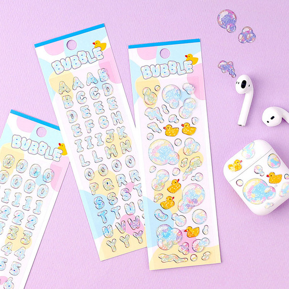 Wanna This Bubble hologram silver line translucent sticker