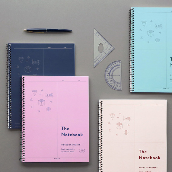 ICONIC Basic mathematics spiral bound grid notebook