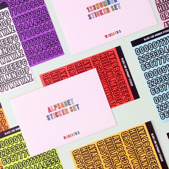 Wanna This Blackline Alphabet and Number sticker set