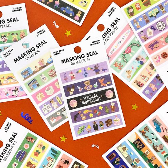 Second Mansion Juicy bear masking sticker seal 01-08
