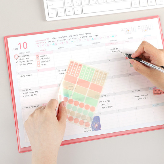 PLEPLE 2021 Desk mat with dated monthly desk scheduler