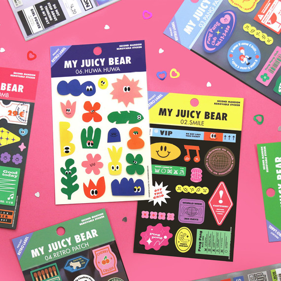 Project retro label my juicy bear removable sticker