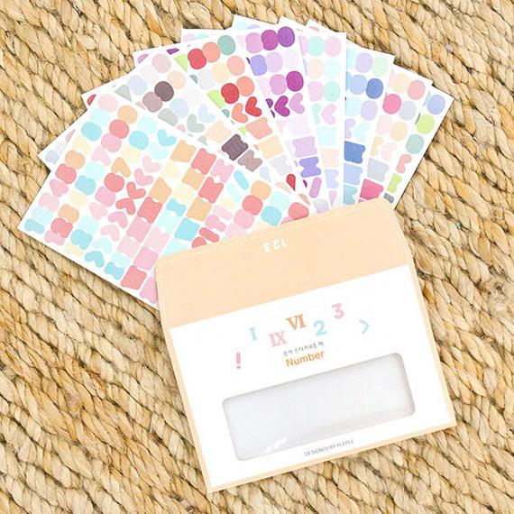 PLEPLE Number sticker 8 sheets set