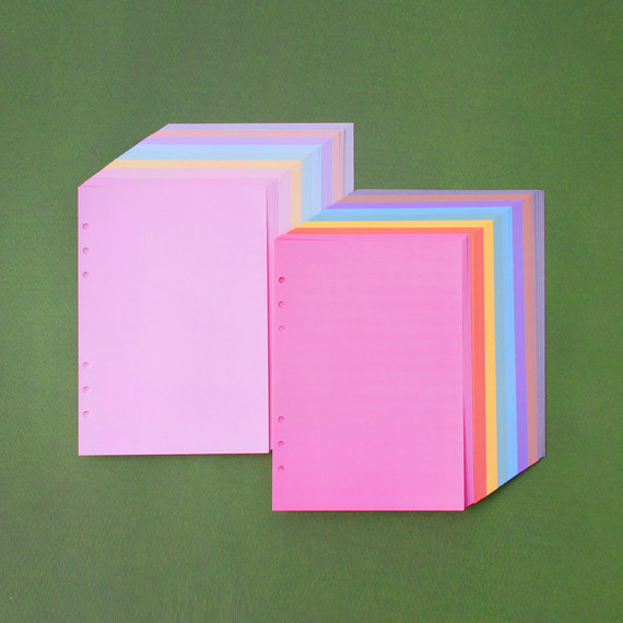 Wanna This Color blank paper A5 size 6 holes refills set